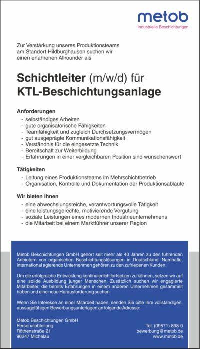 Anzeige 2020-07 Schichtleiter Website & Aushang